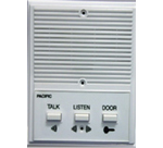 A white common intercom system with three buttons