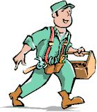A cartoon drawing of a repair person